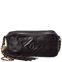 best offers Chanel Black Quilted Lambskin Leather Small Diamond Cc Camera Bag Women's Guaranteed 100% Authentic Price: US $2,256.00